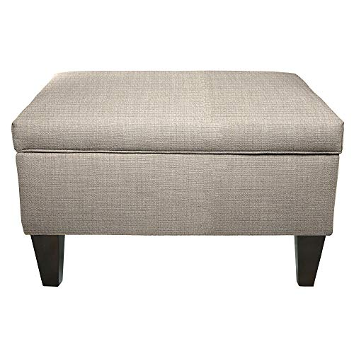MJL Furniture Brooklyn Grey Polyester, Wood Upholstered Storage Ottoman ()