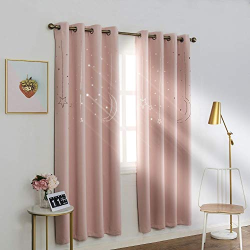 MANGATA CASA Kids Star Blackout Curtains Grommet Thermal 2 Panels for Bed Room,Cutout Galaxy Window Curtain Darkening Drapes for Nursery Living Room(Pink 52X84in)