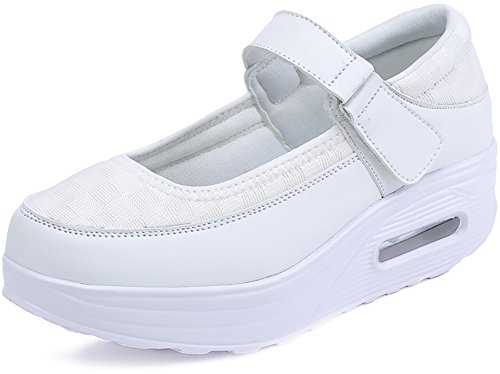 ODEMA Women's PU Mesh Strap Platform Sneaker Shape Ups Walking Shoes Mesh White aOoOyK5acN