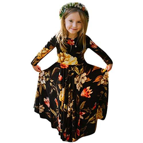 (VEZAD Girls Skirt Flower Print Mori Garden Bohemia Dress Backless Casual Sundress Clothes)