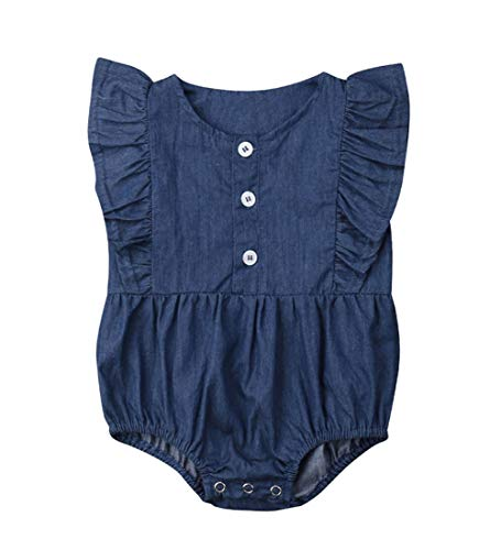 Calsunbaby Infant Baby Girls One Piece Short Sleeve Ripped Demin Jeans Ruffle Romper Sunsuit Outfits Jumpsuit (Style 2, 18-24 Months)