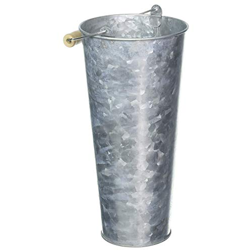 Tin Cylinder Vase Delightful Galvanized Market Buckets Are Ideal for Creating Elegant Arrangements Using Long-Stemmed Flowers Wood-Accented Handle Adds a Nice Natural Detail and the Cool Pewter Grey