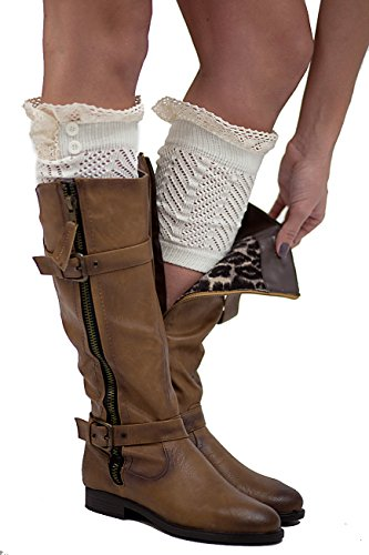 The Original 2 Button Lace Boot Cuffs Ivory by Modern -