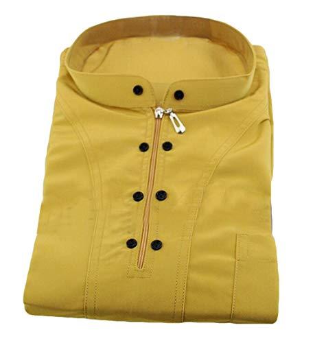 Jotebriyo Men Muslim Thobes Dubai Long-Sleeve Zipper Islamic Saudi Mock Neck Abaya Robe Yellow XXS