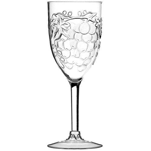 Prodyne Embossed Grape Acrylic Wine Glass, 10 Ounce by (Embossed Grape Acrylic)