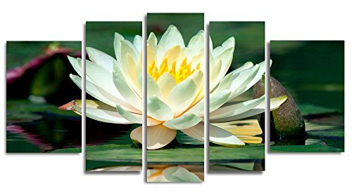Startonight Glass Wall Art Acrylic Decor Set Water Lily, and a Contemporary Clock Set of 5 Total 35.43 X 70.87 Inch 100% Original Artwork the Ultimate Wall Art