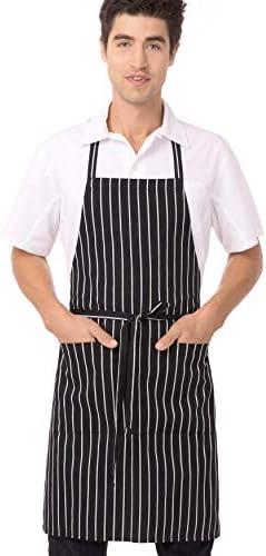 Chef Works mens Bib Apron apparel accessories, Black/White Chalk Stripe, 34.25-Inch Length by 27-Inch Width US