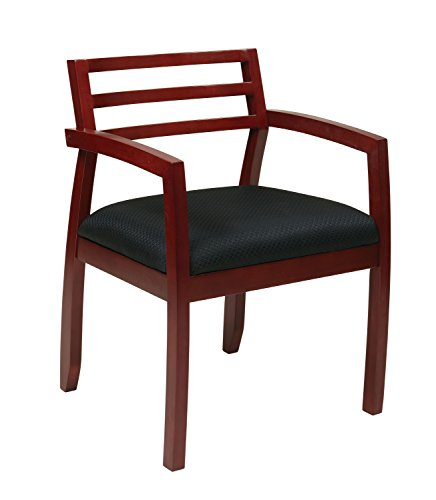 Office Star Napa Wood Back Guest Chair with Black Fabric Seat, Cherry Finish (250 Brown Cherry)