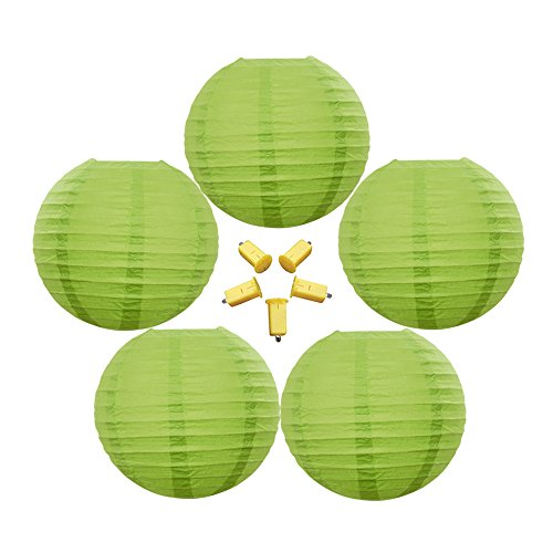 Neo LOONS 5 Pack 10 Inch Lime Green Round Chinese/Japanese Paper Lanterns Metal Framed Hanging Lanterns with LED Lights --- For Home Decor, Parties, Weddings and -