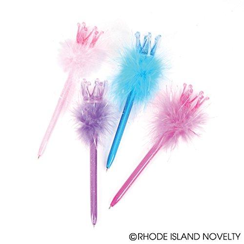 Dozen Assorted Color Princess Tiara Crown Feather Boa Pens - (Feather Princess Tiara)