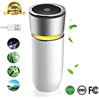 Portable Car Air Purifier Filtration With True HEPA Filter,Captures Allergens, Smoke, Odors, Mold, Dust, Germs, Pets,Night Light,Quiet,Perfect for Car Desktop Office Home