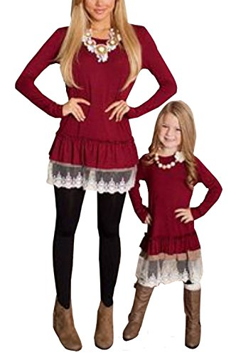 Mommy and Me Long Sleeve Scoop Collar Floral Lace Splicing Loose Blouse Tops (Child 5/6T, Wine Red)