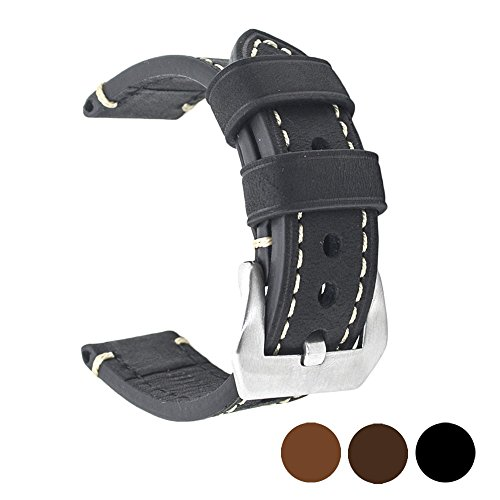 Black 22mm Genuine Leather Wristwatch Watch Band Oil Tan Vintage Watchband for Men with Stainless Buckle Black Classic Watch Band