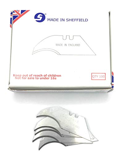 - Jewel 100 X Heavy Duty Concave/Curved Blades Made In Sheffield England Stamped, Stanley Type