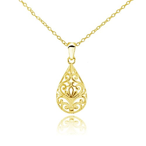 Yellow Gold Flashed Sterling Silver Pear Shape Filigree Swirl Polished Necklace