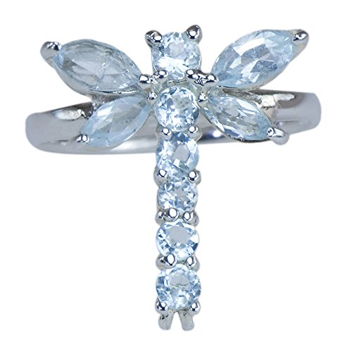 Caratera Fine Jewelry Unique Intricate Dragonfly Aquamarine Gemstone 925 Sterling Silver Jewelry Ring ()