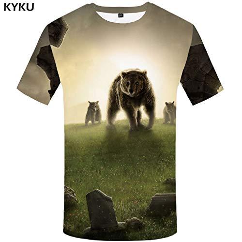 Bear Tshirt Men Animal T Shirt Punk Rock Funny T Shirts Hip Hop Tee 3D Black Cool Mens