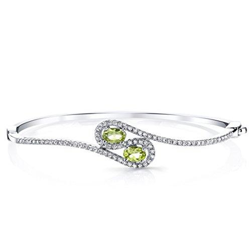 (Peridot Infinity Bangle Bracelet Sterling Silver Oval Shape 1 Carats)