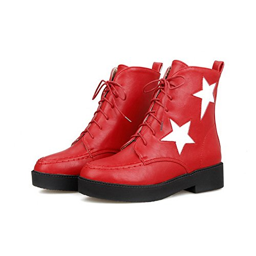 Round Low up Toe Color PU Women's AgooLar Red Heels Lace Assorted Boots wxIqYSB