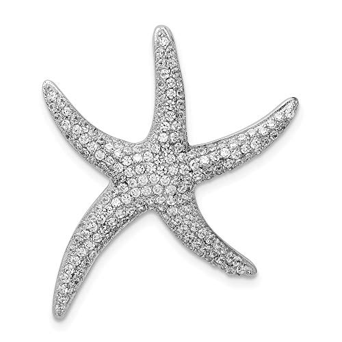 925 Sterling Silver Pave Cubic Zirconia Cz Starfish Necklace Chain Slide Pendant Charm Sea Life Fine Jewelry Gifts For Women For Her ()