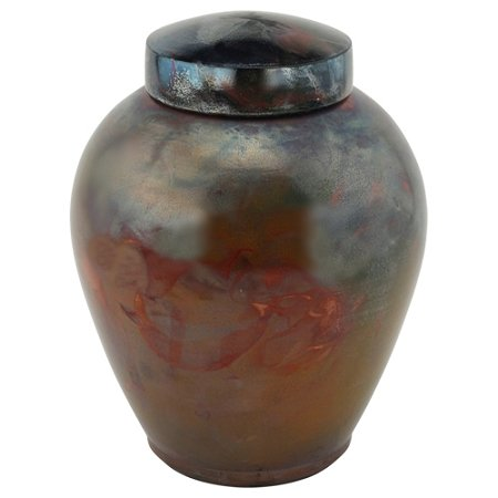 Raku Glaze (Tuscan Copper Raku Urn for Ashes, Handcrafted Ceramic Funeral Urn, Fired Clay, 10.5 Inches High, Copper and Turquoise Blue Glaze)