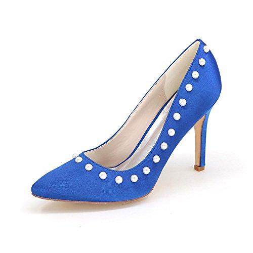 Frauen High Heels 0608-01Z Hochzeit Schuhe Custom Pointed Niet Schuhe Blue
