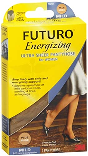 French Cut Sheer Pantyhose - Futuro Energizing Women's Mild French Cut Lace Panty Ultra Sheer Pantyhose Size Plus Nude - 1 Pair, Pack of 3