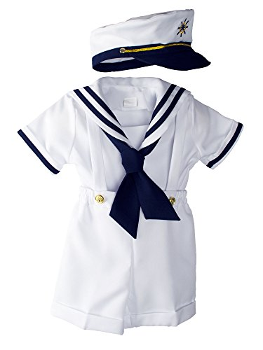 Spring Notion Baby Boys Sailor Set with Hat Medium/6-12M, White]()