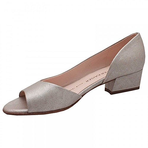 Peter Kaiser Pura Side Out Low Block Heel Court Shoe Silver c2lfKhmDM6