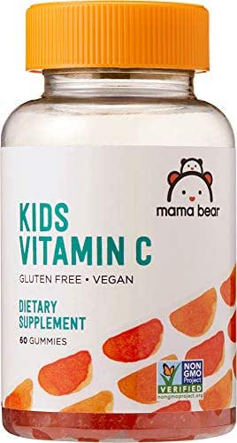 Amazon Brand - Mama Bear Vegan Kids Vitamin C, 60 Gummies, Immune System Support*, 125 mg Vitamin C per Gummy