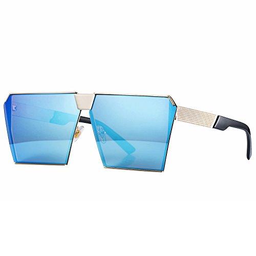 Pro Acme Heavy Metal Rock Mirrored Flat Lenses Oversized Square Sunglasses (Blue Mirrored - Sunglasses Heavy Metal