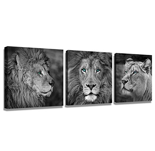 Lion Head Pictures - Wall Paintings Wall Art for Bedroom Lion Wall Art Canvas Black and White Wall Art Lion Poster Wall Art Animals Black Painting Canvas Animal 3 Pieces Modern Decorative Picture Print Lion Head Portrait