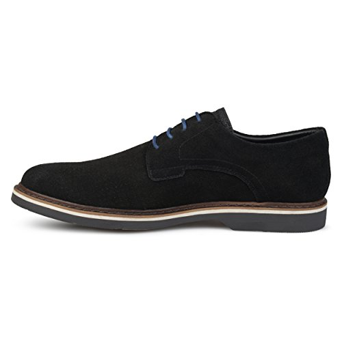 Vance Co. Vance Co. Mænd Genuine Suede Perforated Lace-up Dress Sko Sort Herre Ægte Ruskind Perforerede Lace-up Kjole Sko Sort UTWs0