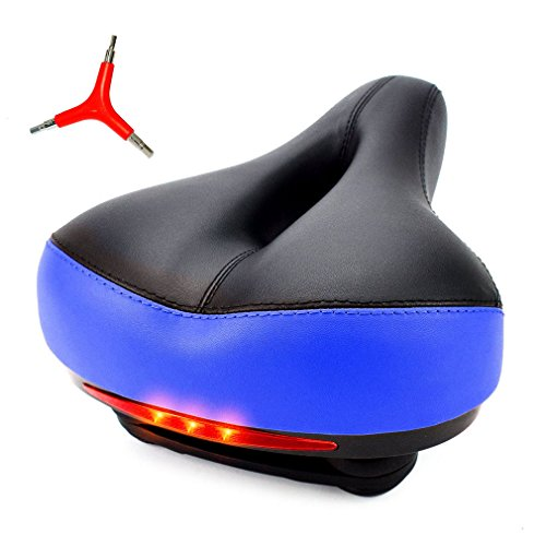 iGoods Wide Bike Seat with LED Taillight Light,Comfort Cruiser Bike Saddle, Mountain Bicycle Seat Cushion Cycling Biking Seat for Mountain Bike,MTB Road,Fixed Gear,Touring Exercise (Blue)