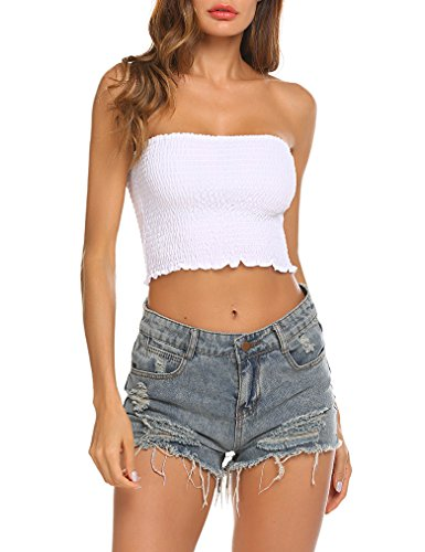 7cde09be3e Locryz Women s Sexy Strapless Bandeau Tube Crop Tops Large White ...