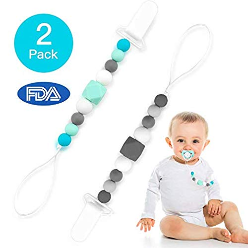 MASCARRY Dummy Clips Pacifier Clips Silicone Teething Beads BPA Free Binky Holder for Girls, Boys, Baby Shower Gift, Teether Toys, Soothie, Mam, Drool Bibs, Set of 2 (Green, Gray) (Green/Gray)
