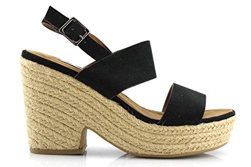 Modelisa -Zapatos Tacon Alpargatas Mujer Negro