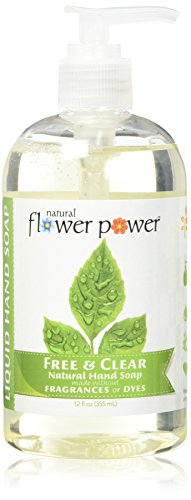 Natural Flower Power - Natural Liquid Hand Soap, Free & Clear, Unscented, Hypoallergenic, pH Balanced, Soft and Moisturizing, Sulfate Free - 12 Ounce (Pack of (Non Toxic Soap)