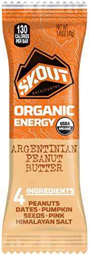 SKOUT Organic Energy Bars - Argentinian Peanut Butter - Vegan Snacks - Plant Based Bars - Non-GMO - Gluten Free, Dairy Free, Soy Free - No Refined Sugar - 1.3 oz (12 Count)