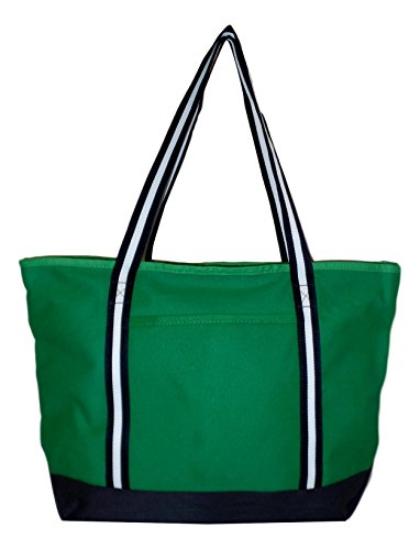 Rugged Heavy Duty X-Large 24 oz Cotton Canvas Zipper Top Tote Shopper Bag - Custom Available (Green With Navy White Straps)]()