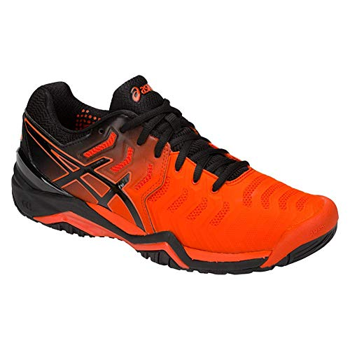 ASICS Gel-Resolution 7 Men's Tennis Shoe, Cherry Tomato/Black, 10 D US