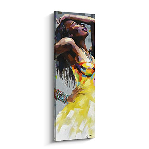 Pinetree Art Modern Woman Portrait Artwork Sexy Lady in Yellow Dress African American Canvas Painting Decor for Wall Livingroom (G, 12 x 36 inch)
