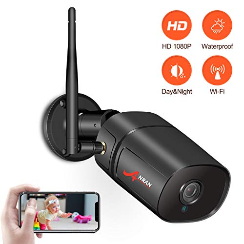 Outdoor WiFi Security Camera, 1080P Home Surveillance Camera ANRAN 2.0MP Wireless Bullet IP Camera with Free App,Two-Way Audio, Night Vision, Motion Detection, Max Support 128GB SD Card (Not Include) from ANRAN