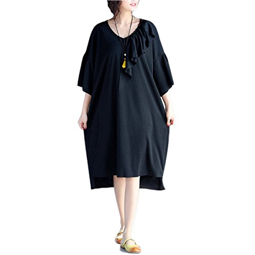 HGDR Primavera Y El Vestido De La Manera Floja De Gran Tamaño De Las Mujeres Del Verano Black