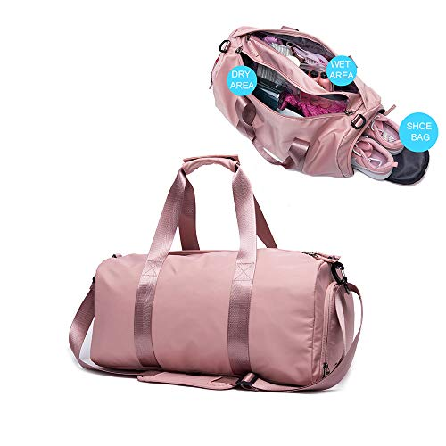 PinPle Sport Gym Bag Travel Duffel Bag with Shoe Compartment and Dry Wet Separation Layer for Men & Women (Cherry Blossom Pink) ()