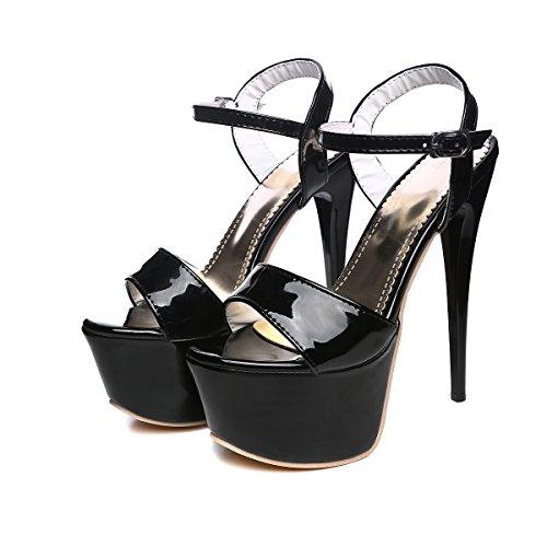 YE Damen Extrem High Heels Plateau Stilettos Lack Sandalen Ankle Strap Pumps Party Schuhe Schwarz