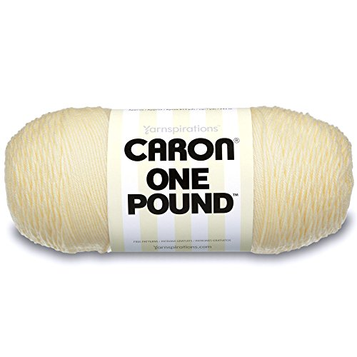 - Caron  One Pound Solids Yarn - (4) Medium Gauge 100% Acrylic - 16 oz -  One Pound    Cream - For Crochet, Knitting & Crafting