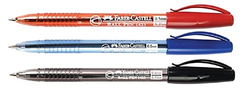 New Faber Castell Ball Pen 1423 S Fine BLUE / BLACK / RED Ink 0.5 mm.12 Pens