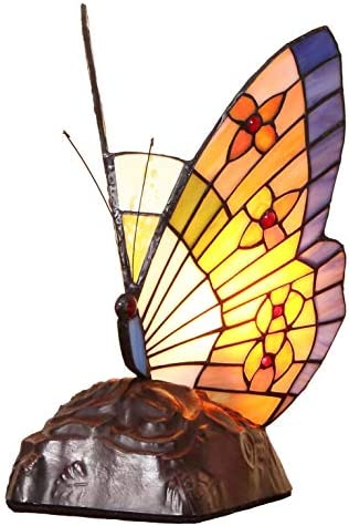 Bieye L10653 Butterfly Tiffany Style Stained Glass Accent Table Lamp