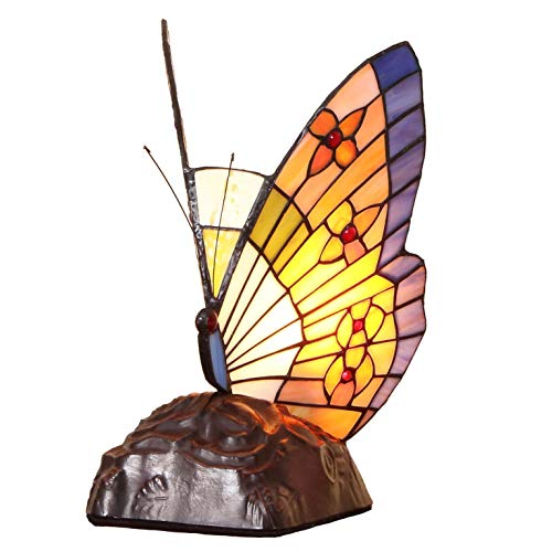 Bieye L10653 Butterfly Tiffany Style Stained Glass Accent Table Lamp, Night Light